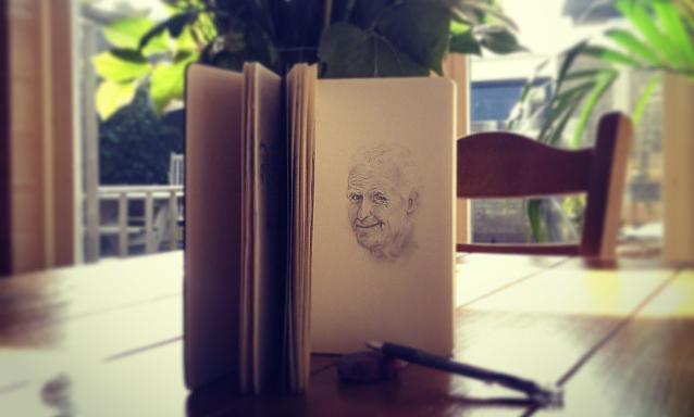 Ter herinnering van onze lieve opa. Tekening: © Sanne Samsom, mijn getalenteerde zus.